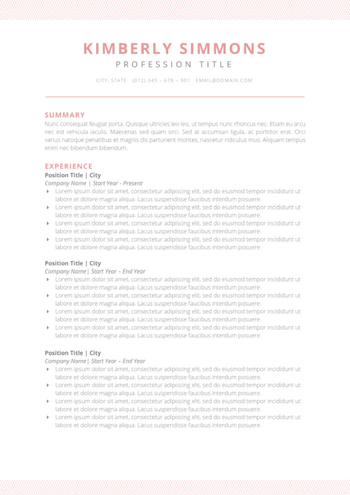 clean feminine resume template