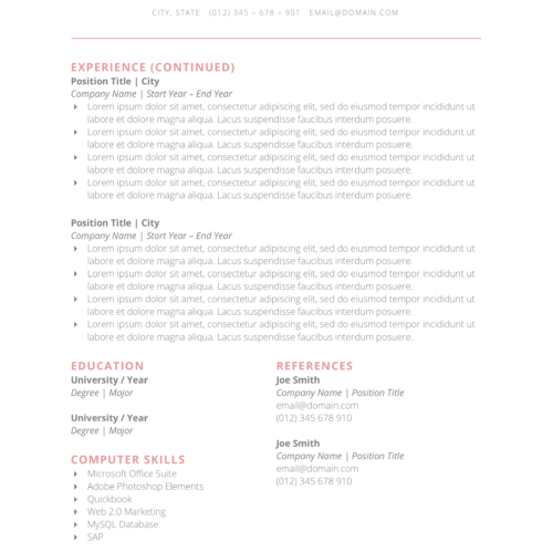 resume template with second page